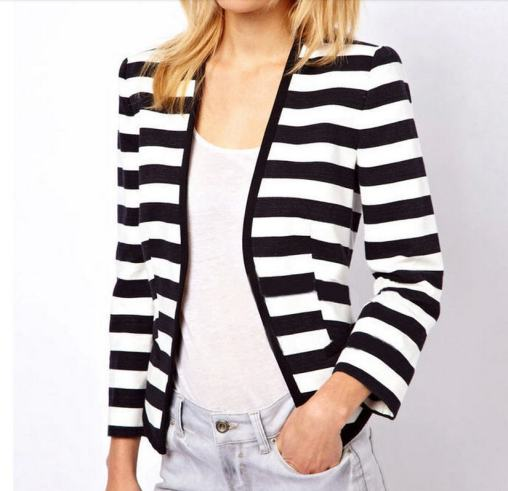 black and white striped blazer womens 44