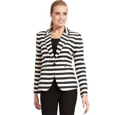 black and white striped blazer womens 45