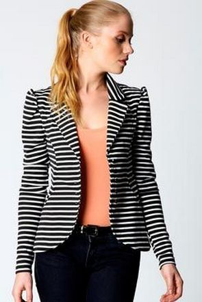 black and white striped blazer womens 8