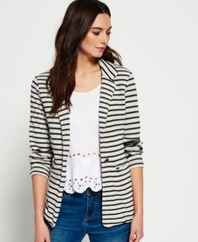 black and white striped blazer womens 9