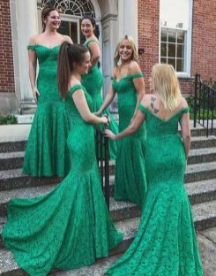 40 Bridesmaid with Mermaid Dresses to Copy Ideas 14