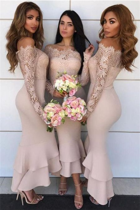 40 Bridesmaid with Mermaid Dresses to Copy Ideas 37