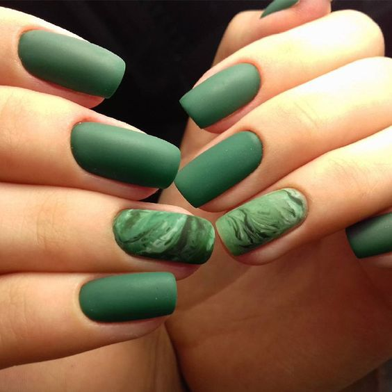 40 Chic Green Nail Art Ideas 29
