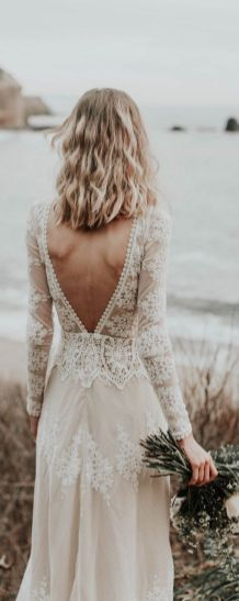 40 Deep V Open Back Wedding Dresses Ideas 14