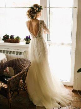 40 Deep V Open Back Wedding Dresses Ideas 39