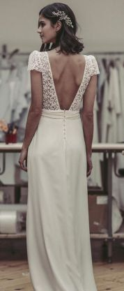 40 Deep V Open Back Wedding Dresses Ideas 45