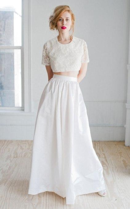 40 Einfache Crop Top Brautkleider Ideen 13