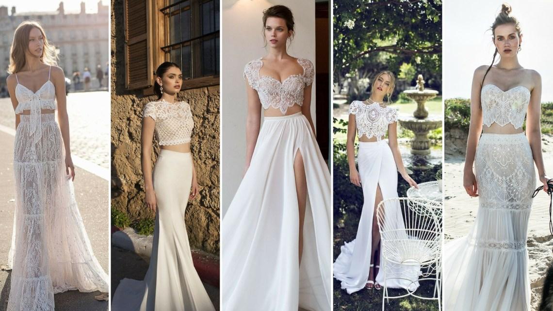 40 Einfache Crop Top Brautkleider Ideen