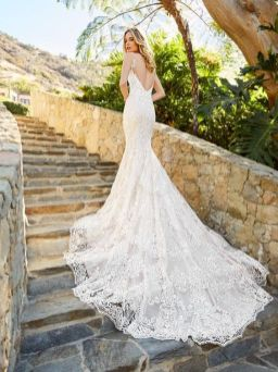 40 Fit and Flare With Long Train Wedding Dresses Ideas 1