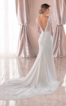 40 Fit and Flare With Long Train Wedding Dresses Ideas 14