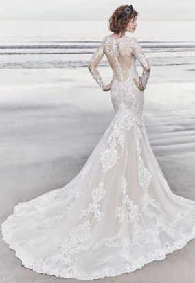 40 Fit and Flare With Long Train Wedding Dresses Ideas 36