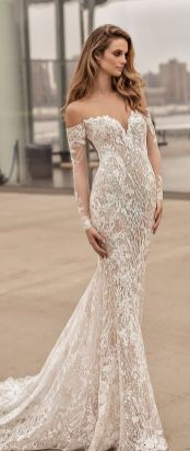 40 Fit and Flare With Long Train Wedding Dresses Ideas 37