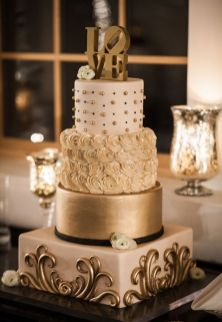 50 Gold Wedding Cakes Ideas 23