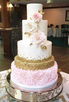 50 Gold Wedding Cakes Ideas 34