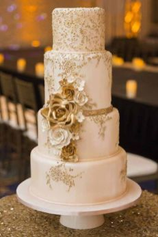 50 Gold Wedding Cakes Ideas 46