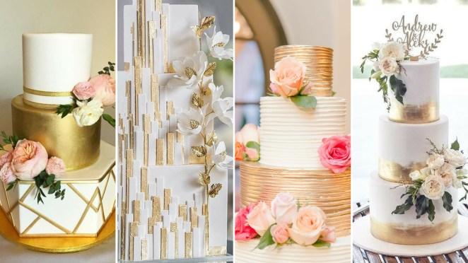 50 Gold Wedding Cakes Ideas