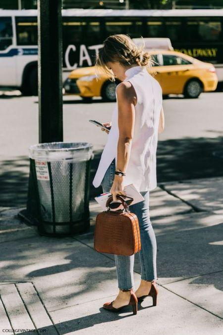 50 White Sleeveless Top Outfits Ideas 38
