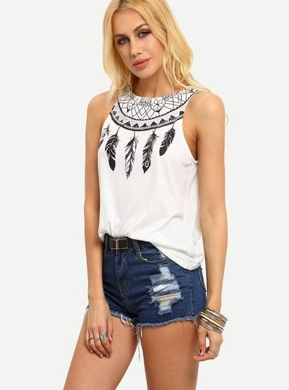 50 White Sleeveless Top Outfits Ideas 39