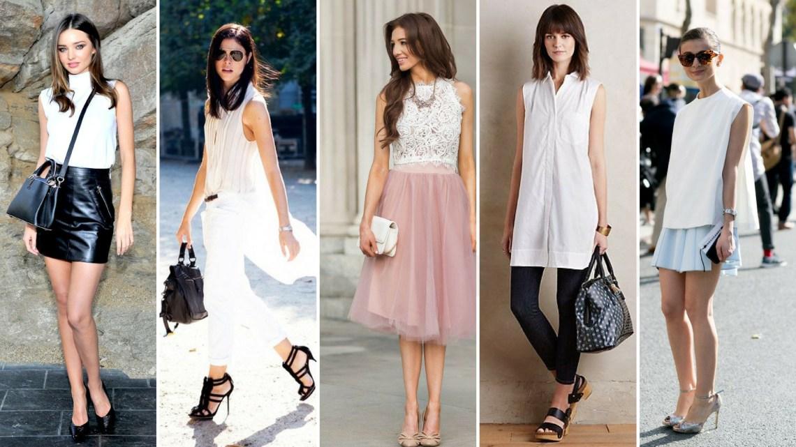 50 White Sleeveless Top Outfits Ideas