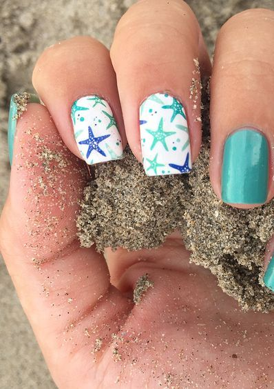 40 Beach Themed Nail Art for Summer Ideas 17