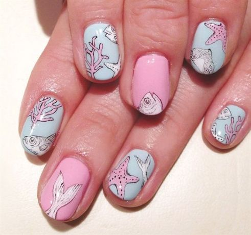 40 Beach Themed Nail Art for Summer Ideas 38
