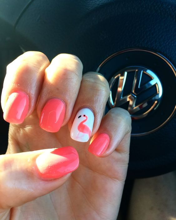 40 Cute Flamingo Themed Nail Art Ideas 11