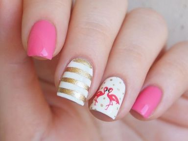 40 Cute Flamingo Themed Nail Art Ideas 16