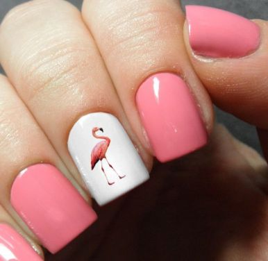 40 Cute Flamingo Themed Nail Art Ideas 22