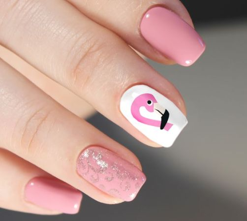 40 Cute Flamingo Themed Nail Art Ideas 27