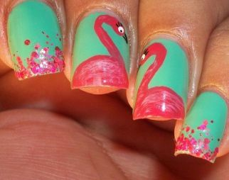 40 Cute Flamingo Themed Nail Art Ideas 31