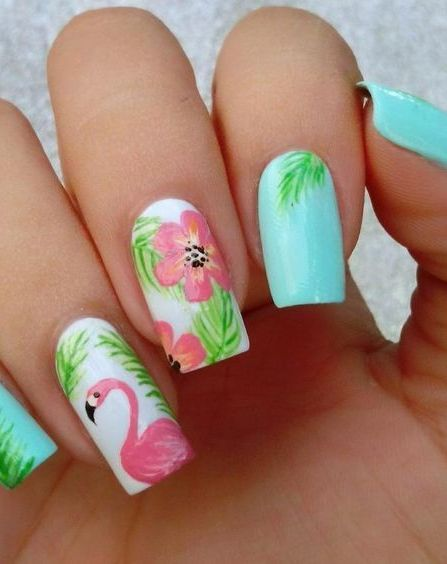40 Cute Flamingo Themed Nail Art Ideas 32