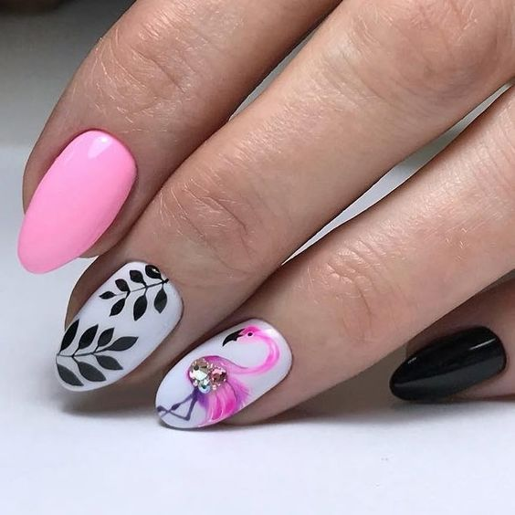 40 Cute Flamingo Themed Nail Art Ideas 34