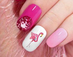 40 Cute Flamingo Themed Nail Art Ideas 36