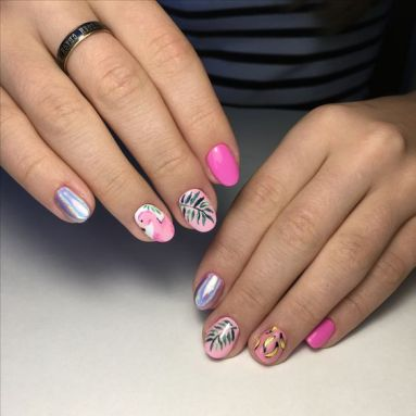 40 Cute Flamingo Themed Nail Art Ideas 39