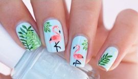 40 Cute Flamingo Themed Nail Art Ideas 7