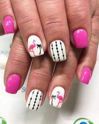 40 Cute Flamingo Themed Nail Art Ideas 8
