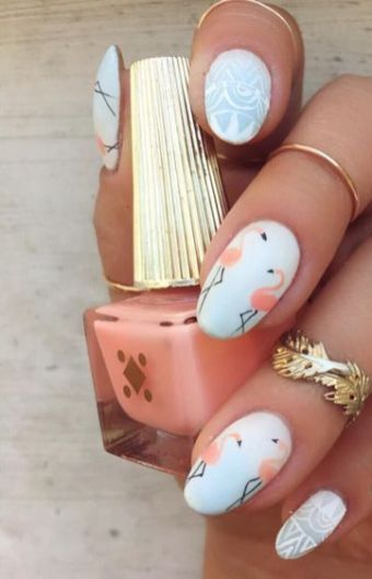 40 Cute Flamingo Themed Nail Art Ideas 9