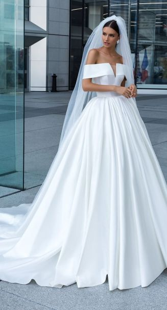 40 Off the Shoulder Wedding Dresses Ideas 19