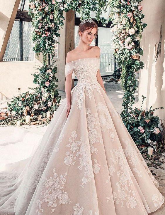 40 Off the Shoulder Wedding Dresses Ideas 29
