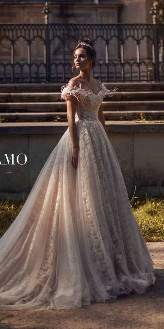 40 Off the Shoulder Wedding Dresses Ideas 31