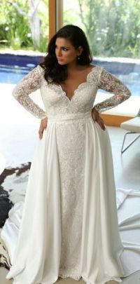 50 V Neck Bridal Dresses for Plus Size Ideas 14