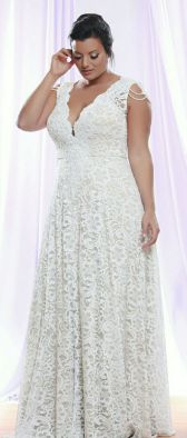 50 V Neck Bridal Dresses for Plus Size Ideas 9