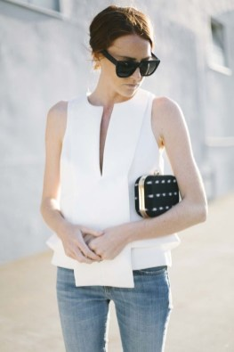 50 Ways to Wear White Sleeveless Top Ideas 23