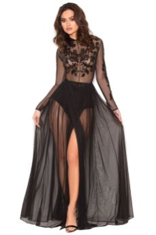 40 Black Mesh Long Dresses Ideas 15