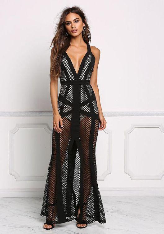 40 Black Mesh Long Dresses Ideas 26