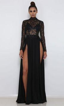 40 Black Mesh Long Dresses Ideas 36