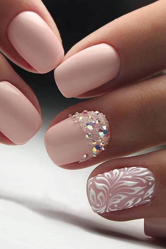 40 Elegant Look Bridal Nail Art Ideas 16