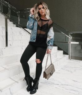 50 How to Wear Black Mesh Tops in Style Ideas 6