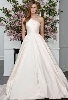 50 One Shoulder Bridal Dresses Ideas 14