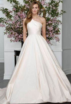 50 One Shoulder Bridal Dresses Ideas 14